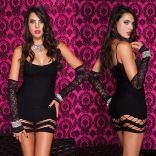 Black Net Pattern Slip Dress 6435