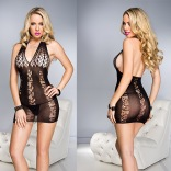 Halter Mini Dress with Net Cut-Outs 6810