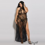Eyelash Lace Toga-Style Gown Queen 11216